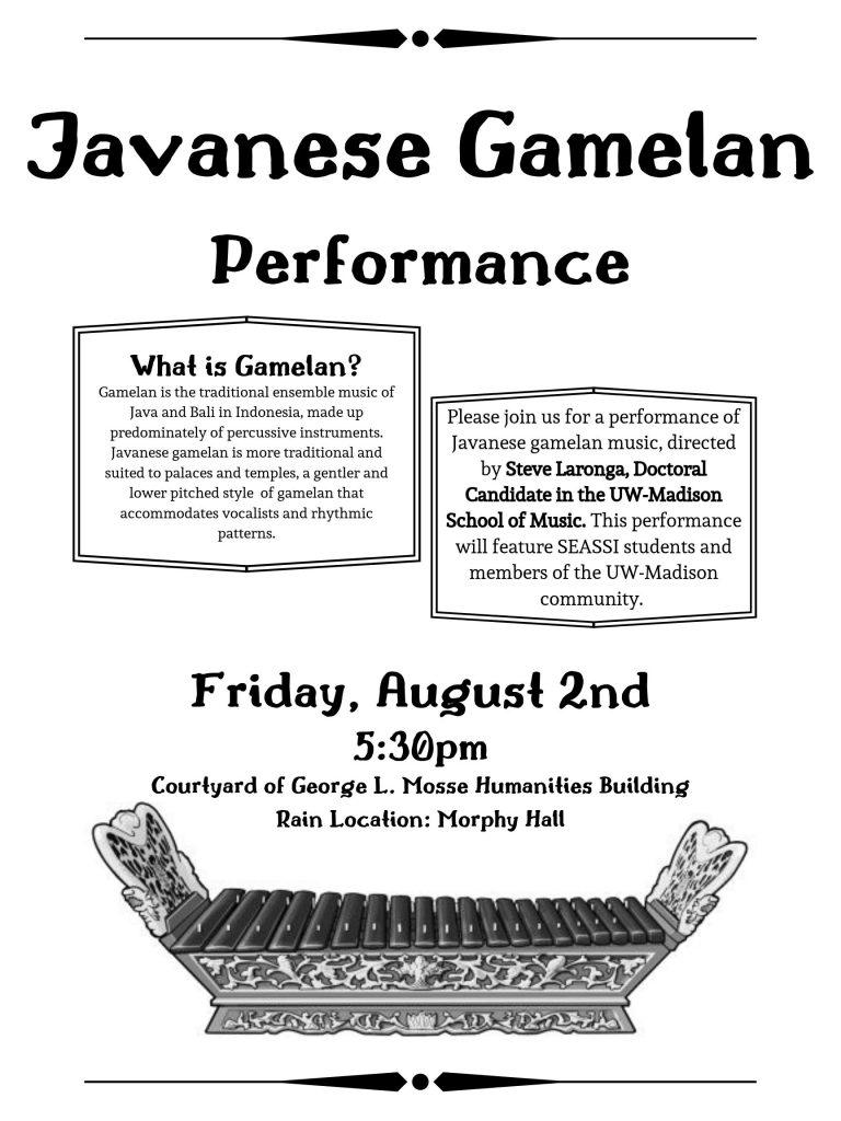 Javanese Gamelan Performance Flyer