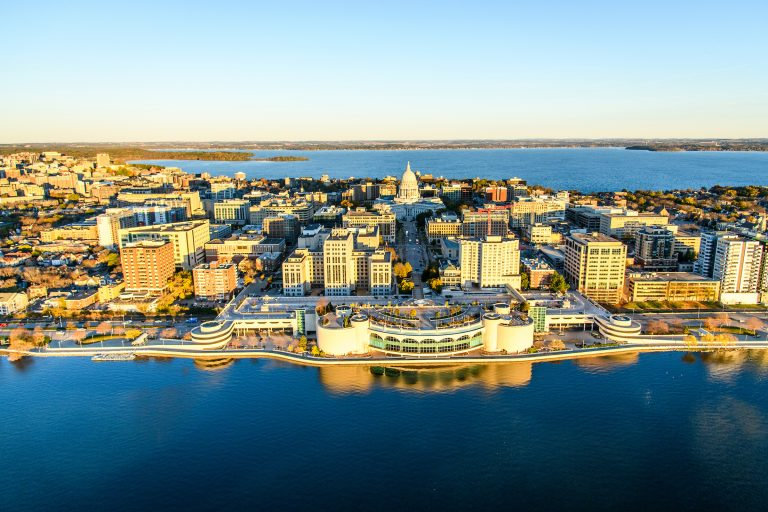 Madison Wisconsin aerial shot