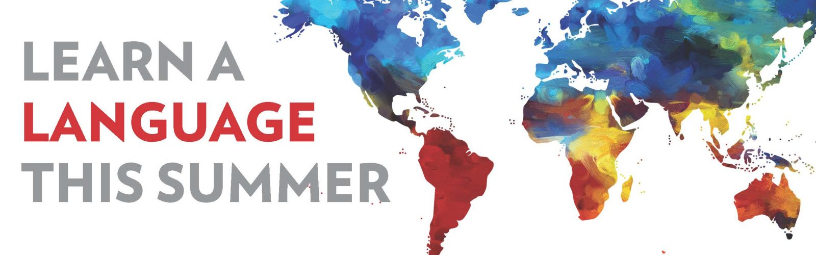 Learn a language this summer text with painted map of the world